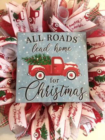 G - All Roads Lead Home for Christmas Wreath-