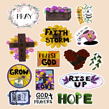 S- Christian Stickers-christian, bible, sticker, bullet, scrapbook, scrapbooking, journaling, calender, photo, album, matte, paper, flower, floral, God, Jesus