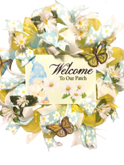 (Wreath) Daisy Welcome to Our Patch