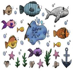 S-Fishers of Men Stickers-christian, sticker, sheet, set, bible, verse, fish, whale, water, cross, star, seashell, anchor, fishers of men, clams, underwater