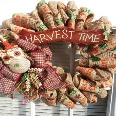 P - Harvest Time Deco Mesh Wreath-wreath autumn fall deco mesh red truck flower flowers halloween thanksgiving christmas home decor decoration pumpkin