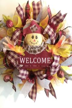 G - Welcome Scarecrow Deco Mesh Wreath