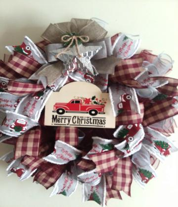 G - Merry Christmas Red Truck Wreath-